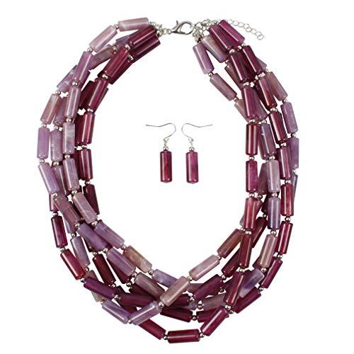 YAZILIND Forma cilíndrica Hecho a Mano Collar Pendientes exagerado Partido joyería Conjunto de señoras Regalo (púrpura)