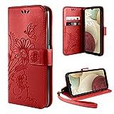 ivencase Funda Compatible con Samsung Galaxy A12, Libro Caso Cubierta la Tapa magnética Protector de Billetera Cuero de la PU Carcasa - Rojo