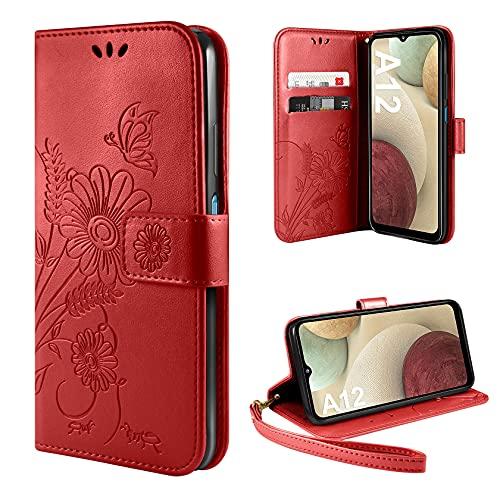 ivencase Handyhülle Kompatibel mit Samsung Galaxy A12 Hülle Flip Lederhülle, Handyhülle Book Hülle PU Leder Tasche Hülle & Magnet Kartenfach Schutzhülle - Rot