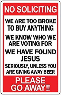 No Soliciting Funny Sign Go Away Man Cave Novelty Humor Gift Signs