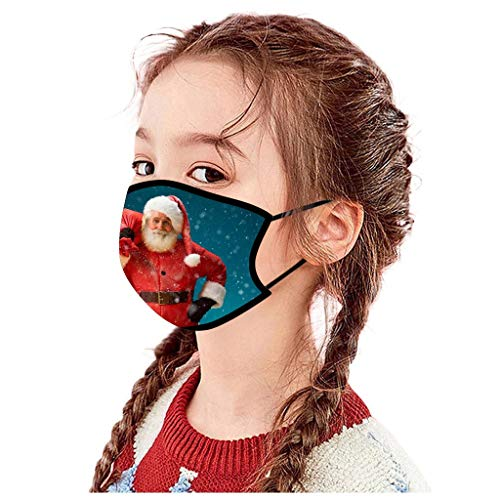 beautyfine Christmas Kids Face Cover Santa Claus Snowman Mouth Cover Reusable Decorative Mouth Shield for Boys and Girls
