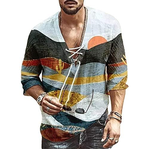 Shirt Hombre Moderna Urbana Tendencia Moda Impresión Holgada Media Manga Hombre Camiseta Verano Profundo Cuello V Lazada Diseño Diario Casual Vacaciones Hombre Tops B-Brown 3XL