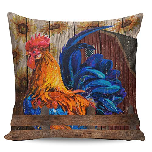Decorative Throw Pillow Covers- Farm Rooster Sunflower Barn Vintage Wood Grain Ultra Soft Pillowcase Comfy Square Cushion Cover Case for Sofa Bedroom, 26' x 26'