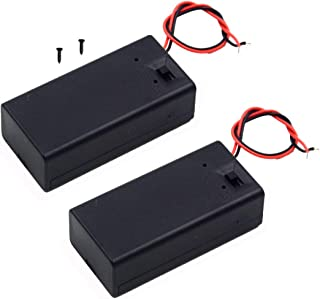LAMPVPATH (Pack of 2) 9v Battery Holder, 9 Volt Battery Holder with Switch, 9v Battery Case with Switch