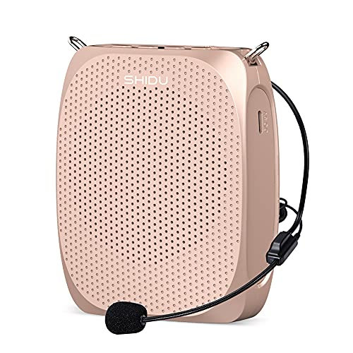 SHIDU Portable Mini Voice Amplifier with Wired Microphone Headset and Waistband, Rechargeable Personal Amplifier Supports MP3 Format Audio for Teachers Tour Guides Coaches Yoga Fitness Instructors