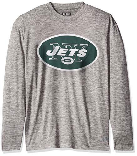 Zubaz NFL New York Jets Male Long Sleeve Tee, Large, Gray