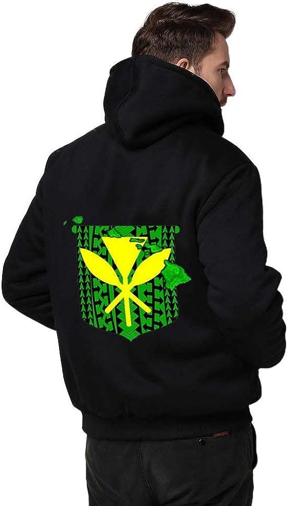 Hawaiian Islands Tribal Kanaka Maoli Men Hoodie Zipper Warmth Thickened Plus Fleece Jacket Black