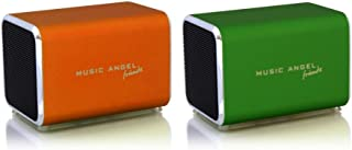 Music Angel Friendz Speaker Twin Pack Bundle for iPhone/iPad/iPod/Mp3/Laptop/Smartphone - Orange/Green