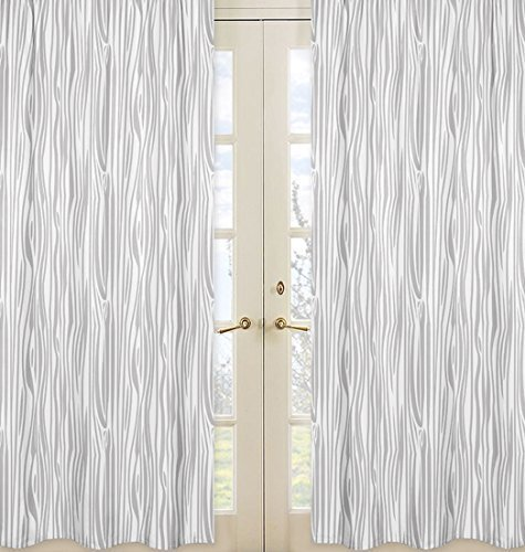 Sweet Jojo Designs 2-Piece Grey and White Wood Grain Print Window Treatment Panels for Woodland Animals Collection