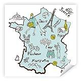 Postereck - 2903 - Frankreich Karte, Paris Bordeaux Collage