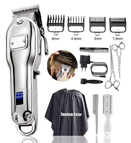 Monlida Haarschneidemaschine, Profi Haarschneider Haarscherer männer mit LCD wiederaufladbare 2500mAh Li-Ionen-Akku, leistungsstarke Randmotor, Verriegelungslänge mit 0,79-1,59 mm, 4 Sabots