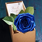 Blue Paper Rose in Gift Box, Unique Romantic Forever Gifts for Her, Best Ideas for Valentines, 1 Year Wedding Anniversary, Birthday, Mothers Day, Teacher Day– Like Real Fresh Single Stem Flower Blue