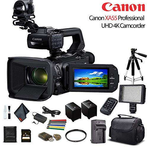 Canon XA55 Professional UHD 4K Camcorder (3668C002) W/Extra Battery, Soft Padded Bag, 64GB Memory Card, LED Light, UV Filter, Tripod and More Starter Bundle