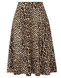 Kate Kasin Plus Size Stretchy Leopard Print Pleated Midi Skirts for Women(3XL,Leopard)