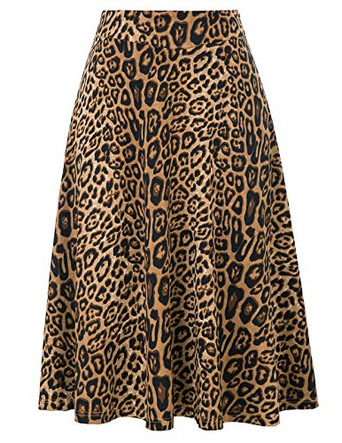 Kate Kasin Plus Size Stretchy Leopard Print Pleated Midi Skirts for Women(2XL,Leopard)