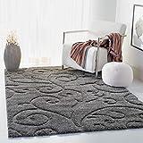 Safavieh Florida Shag Collection SG455-8013 Scrolling Vine Graceful Swirl Area Rug, 3' 3' x 5' 3', Grey