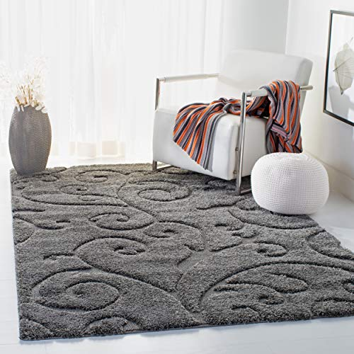 "Safavieh Florida Shag Collection SG455-8013 Scrolling Vine Grey Graceful Swirl Area Rug (3'3"" x 5'3"")"