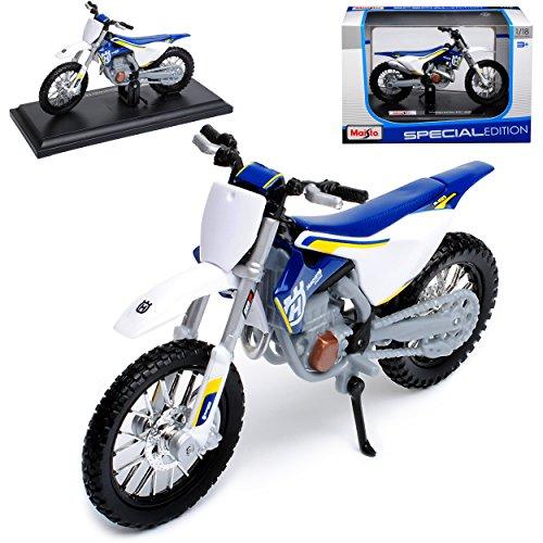 Maisto Husqvarna FC 450 Blau Weiss Enduro Mit Sockel 1/18 Modell Motorrad