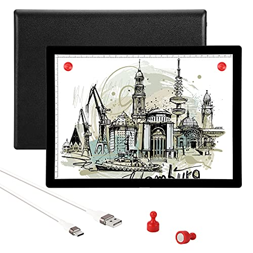 Rechargeable Light Pad for Tracing, Iusmnur A4 Battery Powered Light Pad for Diamond Painting Drawing Animation Stenciling Sketching