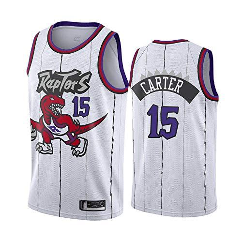 LITBIT Baloncesto para Hombre NBA Jersey Vintage Raptors 15# Carter Transpirable Quick Secking Sin Mangas Vestima Top para Deportes,Blanco,S