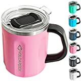 VOLCAROCK Coffee Mug with Handle, 16oz Insulated Stainless Steel Reusable Coffee Cup, Double Wall Coffee Travel Mug, Keep Cold 6 Hours and Keep Warm 5 Hours (Pink)