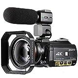 Videocámara 4K ORDRO 3.1 Pulgadas IPS Pantalla Táctil Cámara de Video 4K UHD IR Visión Nocturna WiFi 1080P 60FPS Cámara de Video Digital 30X Zoom Digital Videocámara con Micrófono y Lente Gran Angular