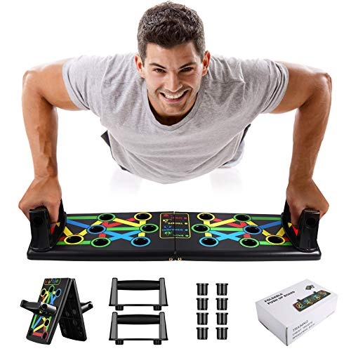 Awroutdoor Push Up Rack Board, 14 in 1 Pieghevole Multifunzionali Body Buiding Push Up Board Attrezzi per Allenamento a Casa Allenamento Fitness