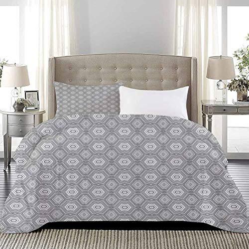 UNOSEKS LANZON - Juego de colcha con diseño abstracto con muchos elementos angulares Un caleidoscopio de formas imprimir ropa de cama de lujo fresco ligero gris y blanco, tamaño completo