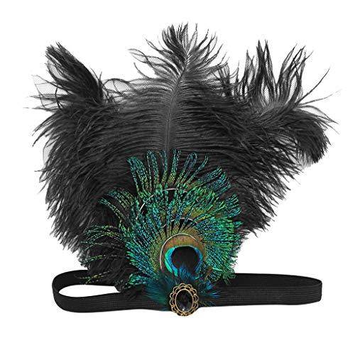 POachers Bandeau Femme Gatsby Headband Cristal 1920s Bandeau Plume Gatsby Flapper Accessoires Charleston Bandeau Année 20 Vintage Partie à Thème(Noir, violet, Bleu, Rose chaud)