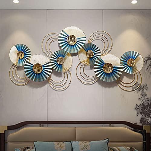 XKUN Decoración del Arte de Pared del Metal de Placa del Círculo, Esculturas de Pared de Metal Hechas a Mano Modernas, Colgante de Pared de Lujo Ligero, 120 × 55 cm
