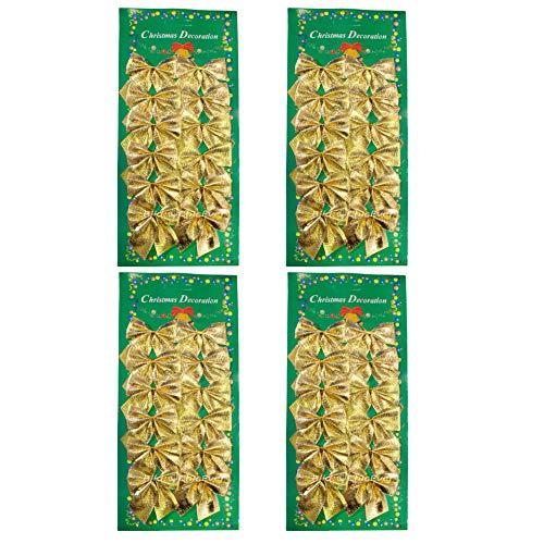 ChicEver 48x Mini Schleifen Gold Weihnachten Weihnachtsschleifen 5cm 0236b