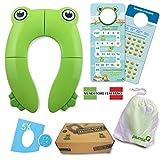 Reductor de agua para niños, adaptador de inodoro, antideslizante, portátil, plegable de viaje, mapa de aprendizaje con 40 pegatinas, 5 unidades
