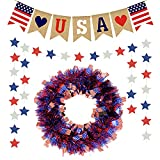 4th of July Decorations Patriotic-Wreaths American-Flag-Banner Independence - Red Blue White Stars Bunting Garland for Front Door Outdoor Independence Day Party Wall Decor