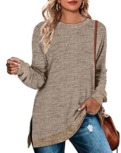 Long Sweatshirts for Women Crewneck Oversized Warm Sweaters Winter Coffee Medium