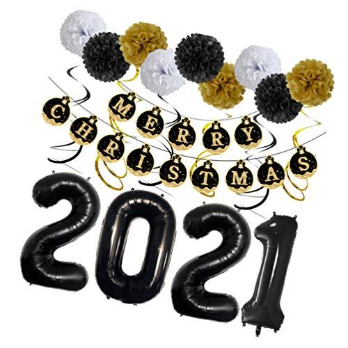 NUOBESTY 2021 Decoraciones para Fiestas de Feliz Navidad 2021 Globos Banner de Navidad Letrero Garland 2021 Navidad Año Nuevo Decoraciones para Fiestas Suministros