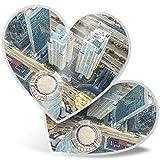 Impresionante 2 pegatinas de corazón de 7,5 cm – Ciudad de México DF Edificios divertidos calcomanías para portátiles, tabletas, equipaje, libros de chatarra, frigorífico, regalo genial #21874