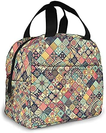 Reusable Insulated Financial sales sale Cold Lunch Bag-ethnic-floral-seamless service Storage