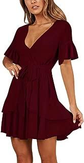 Women's Casual Sweet & Cute Gorgeous Swing Dress Short Bell Sleeve V-Neck Defined Waist Mini Sheath Belted Dress