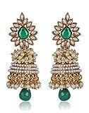 Shining Diva Metal Jhumki Earring For Women (Green)