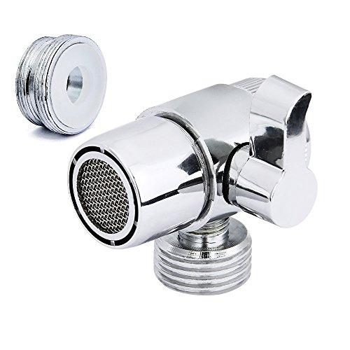 Jtdeal Deviatore di qualità (M22x M24), in lega, per doccia, lavandino della cucina o del bagno, singolo, monocomando, cromato, lucido
