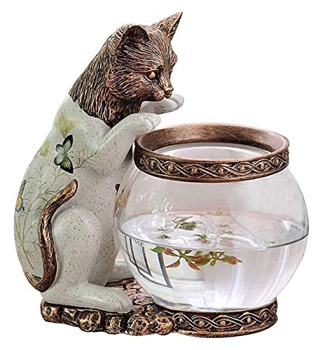Desktop-Skulptur Katze Statue Fischtank Handwerk skulptur Kindlich Geschenke Home Zubehör Gold Fischbehälter Studie Tierdekoration Figuren