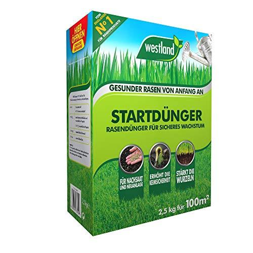 Westland Startdünger 733612, Rasendünger für sicheres Wachstum, Granulat, Dunkelbraun, 2,5 kg für 100m²