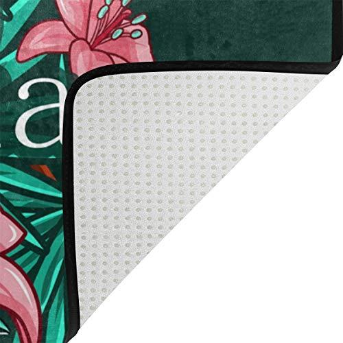 FANTAZIO Felpudo hawaiano Aloha con hojas verdes para entrada al aire libre, alfombra recta para cocina/baño, 59,6 x 39,9 cm