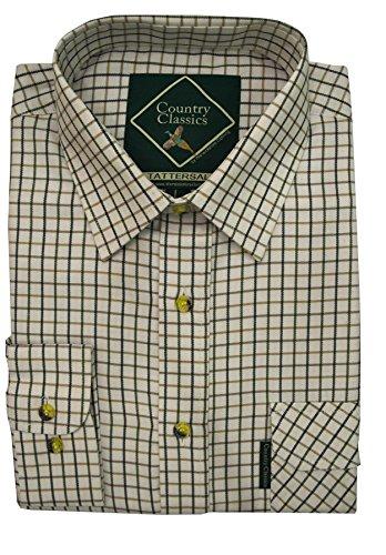 Country Classics–Hombre país Check Shirt–Heavy Weight–Calidad–Fácil Cuidado, Todo el año, Color Tattersal-Green, tamaño Small