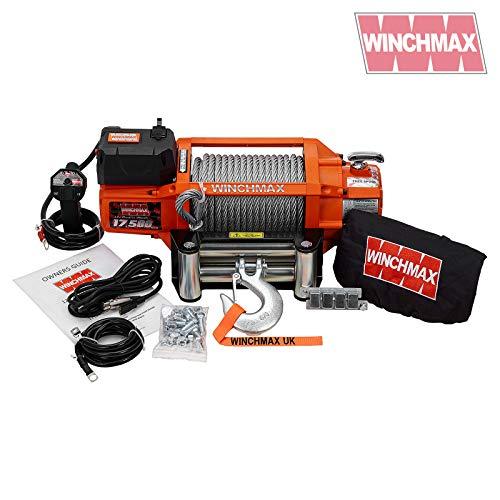 WINCHMAX Elektrische Seilwinde, Stahlseil, kabellos, 12 V, Orange