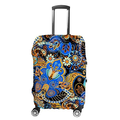 Travel Luggage Cover Classy Blue Turquoise Orange Black Floral Paisley Suitcase Protector Fits 22-24in Luggage Washable Baggage Protective Cover