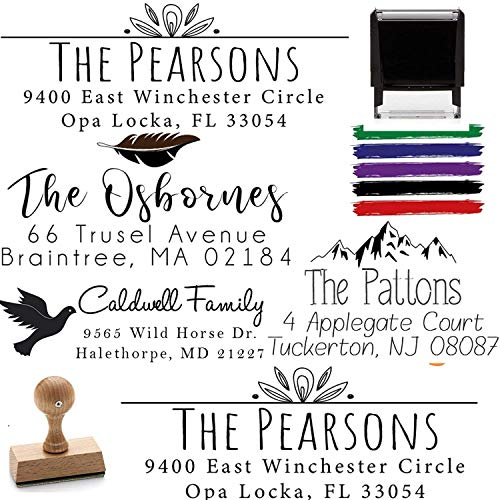 Custom Address Stamps Self Inking or Wood Handle 10+ Designs to Choose from! Return Address Stamp Stamper Self Inking Personalized Customized Stamp Return Floral Wedding Script Calligraphy Labels Mail