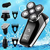 Vifycim Electric Shavers for Men, Mens Electric Razor,5 in 1 Head Shavers for Bald,Dry Wet Waterproof Rotary Shaver USB Cordless Face Rechargeable Razors Travel Grooming Kit for Man Facial Bald Head