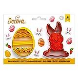 Kit 2 TAGLIAPASTA di Pasqua PASQUALI - Coniglio e Uovo Decorato - formine stampi Taglia Biscotti per Creare Fantastici Dolci e decori Torte - Ideale per Decorazioni in Pasta di Zucchero