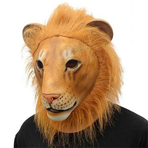 CHUANG TIAN Maschera Testa di Tigre, Leone Maschera Animale Cappuccio in Lattice Pazzo Animale Città Ruolo Giochi di Scena Prom Maschera Festa,Lion